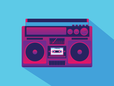 1984 Boombox stereo gradient 1984 vice illustration vector music boombox