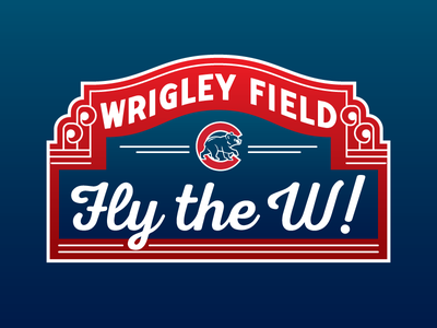 Fly the W! illustration gradient national league nlds playoff october past time baseball chicago wrigley field cubs