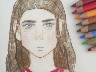 Brown hair girl character illustration head hair ears eyes face portrait lights shadows girl drawing pencils