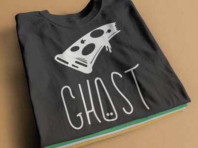 GHOST T-SHIRT character mockup pizza ghost vector happy logo design illustration