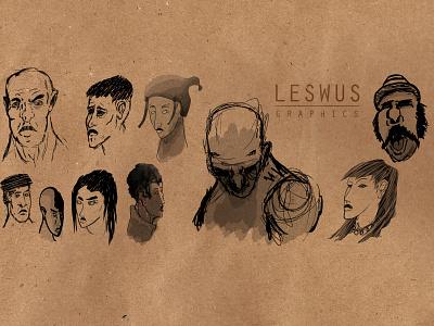 Heads for days face shadows portrait brush hair ears eyes design character illustration head