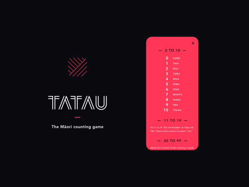 Tatau App sam bunny digital product indigenous language game counting new zealand red white black app icon app māori maori