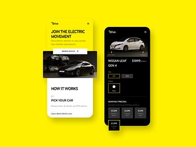 Mercury Drive product design app yellow bee electric vehicle drive mercury electric car tesla ux ui bunny sam