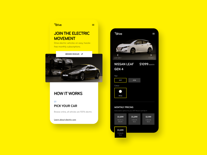Mercury Drive product design app yellow bee electric vehicle drive mercury electric car tesla ux ui bunny sam