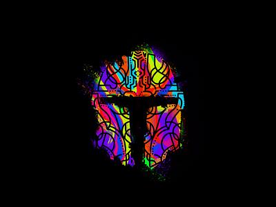 The Mandalorian colorful color abstract helmet beskar mando din the mandarlorian star wars bunny sam