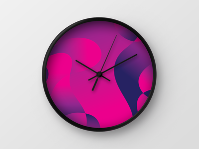 Bloom Wall Clock society 6 clock bloom sam bunny smooth colourful colour lines abstract gradient pattern digital