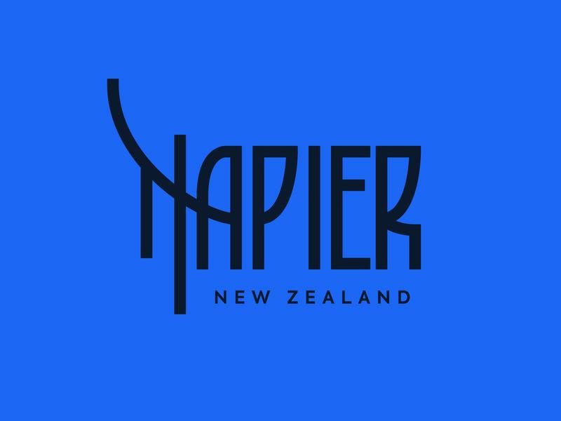 Napier art deco nz new zealand napier vector design logo typography lettering illustration bunny sam