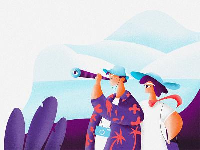 Traveling hawaiian shirt hat binoculars nature travel app traveling backpacker travel illustrator krixi illustration character design character