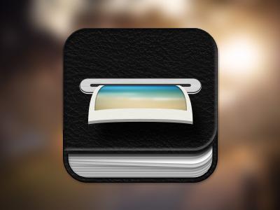 My first app icon iphone ipad album photo pics app book black