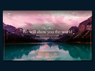 Lanidng page   for travel company figma wix tilda webflow inspiration landingpage concept color web travel blue gold colorful desktop design ui design ux