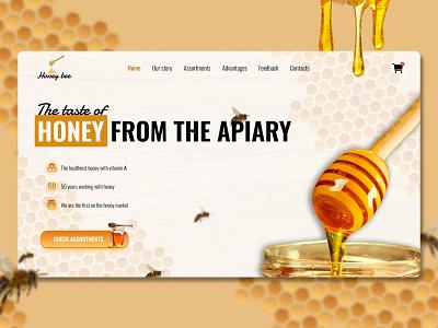 Landing page   Honey bee figma wix tilda webflow bee yellow concept design amazing colorful honey web landing page landing ux ui