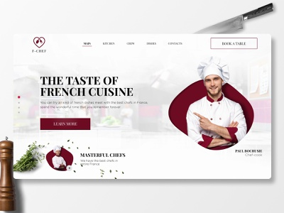 Landing page   French Сuisine   Concept figma wix tilda webflow chef red food clean cuisine kitchen white concept landing page landing web design ux ui