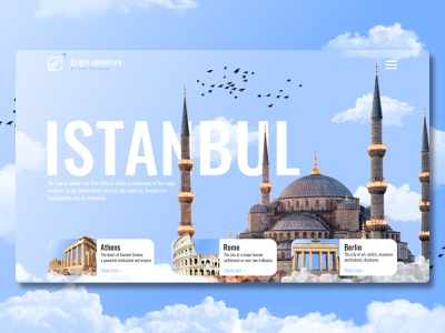 WEB   Travel agency Istanbul   Concept webflow tilda clouds white website web ux ui turkey travel sky main landing istanbul desktop design color rome berlin athens