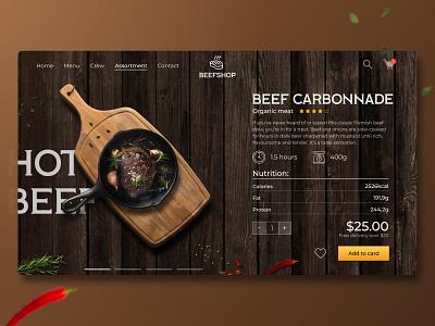 E-commerce   BEEFSHOP   Concept wix tilda webflow wood food color landing delivery shop meat beef brown commerce ecommerce website web concept design ux ui