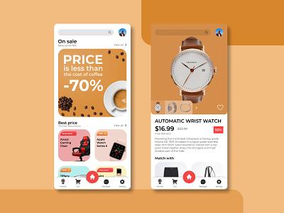 Mobile E-Commerce   Concept wix tilda webflow web shop app ux ui mobile ecommerce app design concept color coffee brown application adaptive