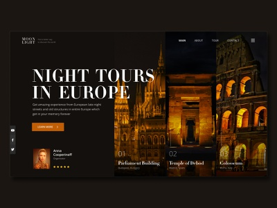 Landing page   Concept   Night tours in Europe tilda wix webflow italy spain hungry tour night europe main dark ux landing concept design color web ui