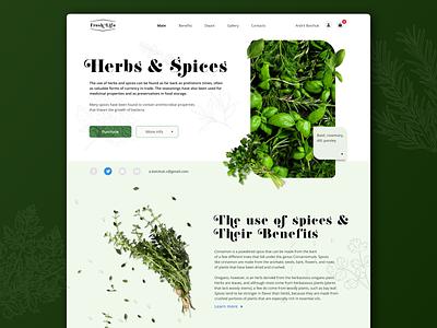 Landing page   Concept   Fresh life webflow tilda wix landingpage e-commerce spices herbs website landing main green color concept web design ux ui
