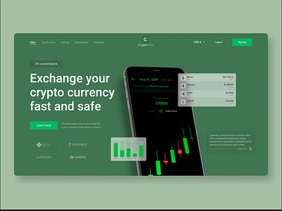 Website | Crypto currency exchange | Concept blockchain cryptocurrency webflow wix figma tilda binance landing green color web design ripple ethereum bitcoin crypto ux ui