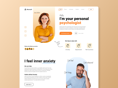 Website | Psychologists service | Concept figma webflow wix tilda minimalistic psychology doctor mental health psychologist web concept landing coziness warm blue orange color design ux ui