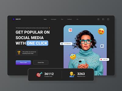 Website   Mobile pop   Concept webflow wix social media gradient dark landing page website web design ux ui