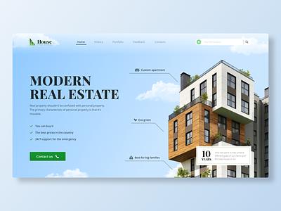 Landing page | House Real Estate | Concept tilda blue house graphic design realestate wix webflow landing color web design ux ui