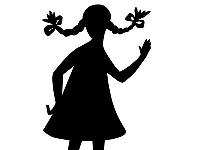 Girl's silhouette says Hi