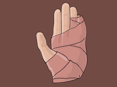 splint shadow highlight broken hand drawing splint adobe illustrator illustration
