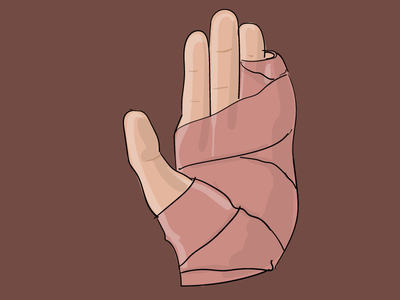 splint shadow highlight broken hand drawing splint adobe illustrator illustration