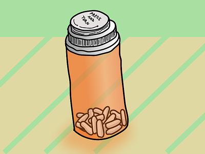 Pain Medication adobe illustrator illustration bottle pills drawing