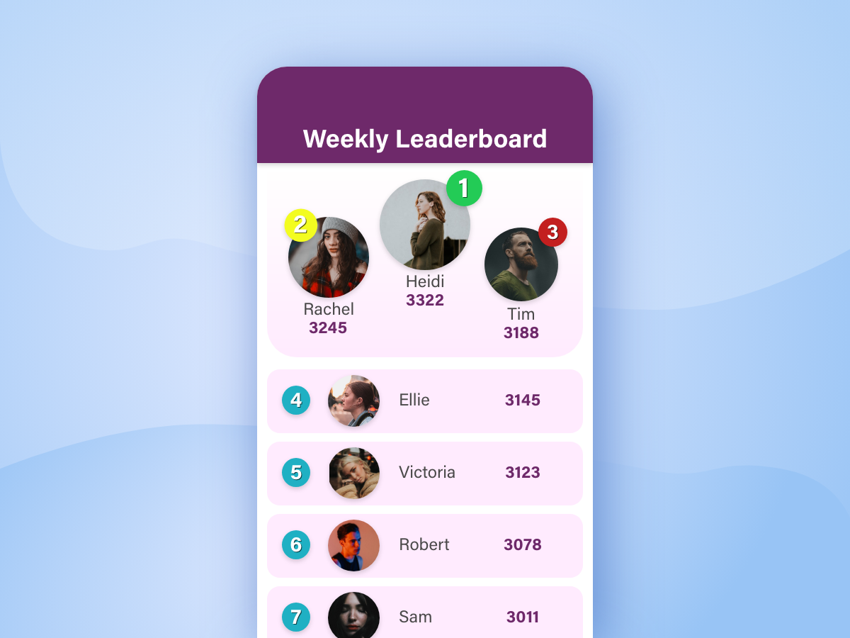 DailyUI 019 leaderboard ux app user interface ui daily ui adobexd design dailyui