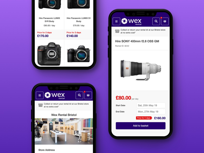 Camera Rental - Live site web design store category page product page ecommerce mobile