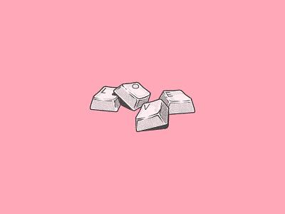 Spare keys icon pink logo vector procreate line onfimpavlo illustration flat design chill character brush black lead