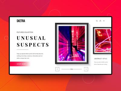 Landing Page for Framed Prints shop web