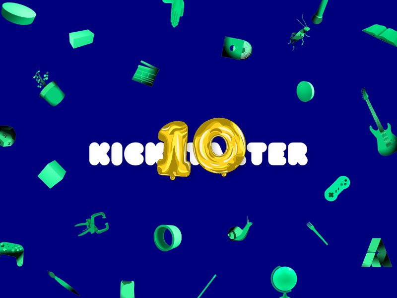 Kickstarter 10 Celebration website logo branding design illustration