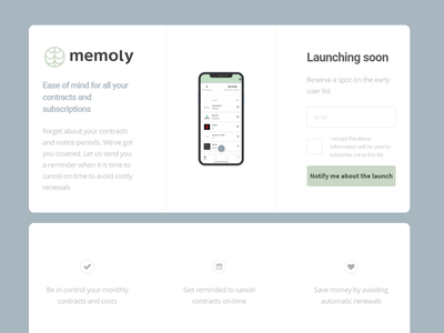 Memoly - Contract and Subscription Manager App memoly ui mobile app app landing page beta launch landing page design app design