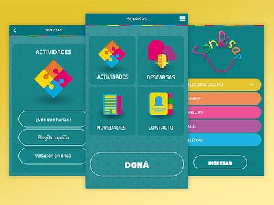 Sonrisas mobile app android app uidesign uxdesign ui  ux
