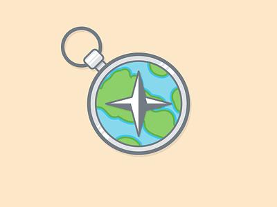 Compass compass navigate globe flat illustration icon earth