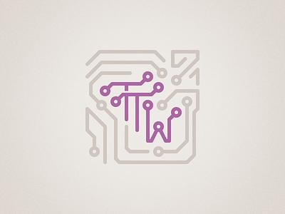 Teen Tech Week library mark graphic tech technology purple beige tan circuit warm grey