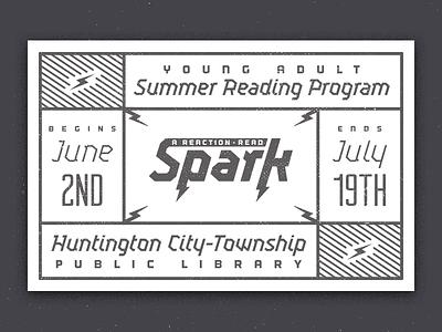 Spark a Reaction spark bolt lightning texture summer reading program vintage retro stamp