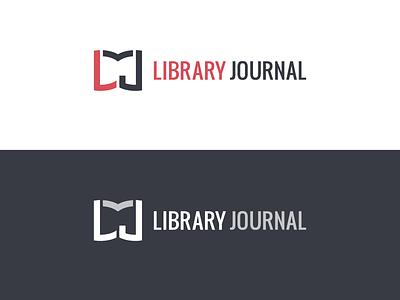 Just for fun library book mark logo logomark wordmark red monogram l j