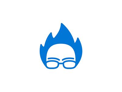 #FeelTheBern blue flat logo mark crazy hair flame bernie sanders