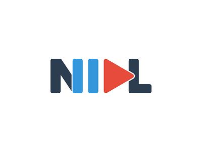 NIDL proxima nova wordmark logo orange blue pause play text flat