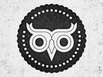 my logo stamp texture chirmer owl ribbon losttype grunge ridges dots lost type black and white