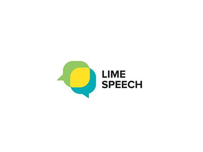 Lime Speech logo speech talk balloon lemon lime