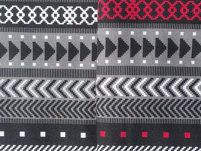 Tribal Geometrics - black, white, red wallpaper pattern quilting crafts sewing fabric