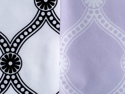 Exploring Ogee - black, white, lavender wallpaper pattern quilting crafts sewing fabric