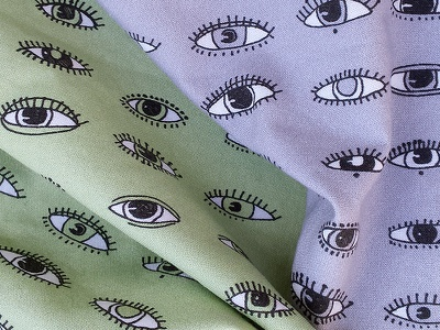 Eyes for fabric pen and ink illustration surface design textile fabric