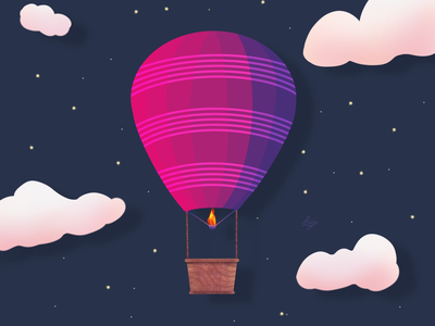 Air balloon in the night sky 🌌 artwork ipaddrawing graphicdesign digitaldrawing digitalart digitalillustration illustration procreate5 procreate