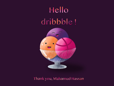Hello dribbble! digitaldrawing digitalillustration illustration hello icecream shot first firstshot