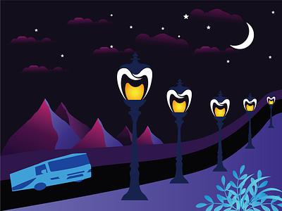 moonlit night design vector drawn illustrator illustration design